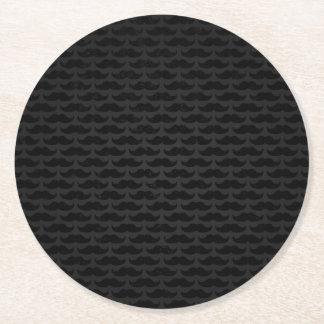 Svart- och grå färgmoustachemönster underlägg papper rund