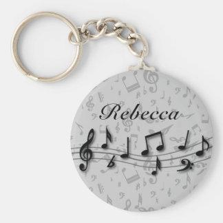 Svart och grå musik noter för personlig rund nyckelring