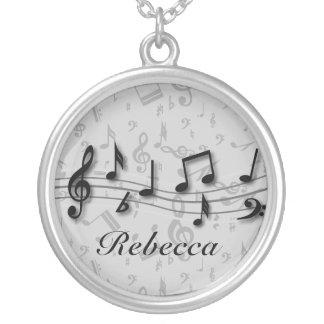 Svart och grå musik noter för personlig silverpläterat halsband