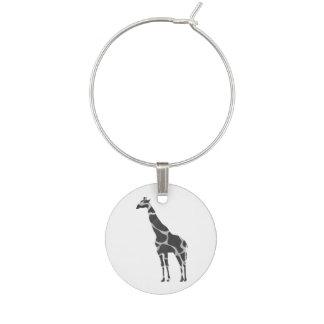 Svart och gråa Silhoutte för giraff Berlock Vinglas