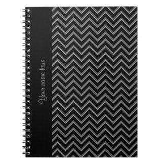 Svart och grått sparremönster för elegant anteckningsbok