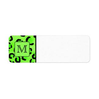 Svart och grönt Leopardtryck. Beställnings- Monogr Returadress Etikett