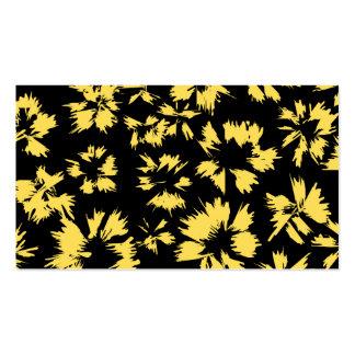 Svart och gula Flowers. Set Av Standard Visitkort