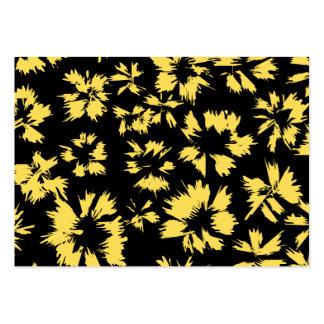 Svart och gula Flowers. Visitkort Mallar
