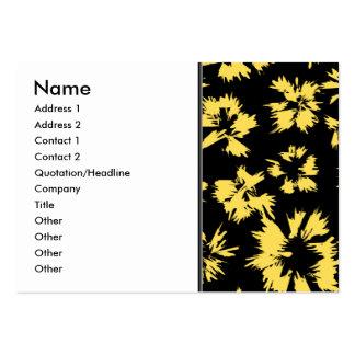 Svart och gula Flowers. Set Av Breda Visitkort