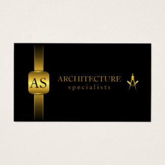 Svart och guld- arkitektkompassarkitektur visitkort