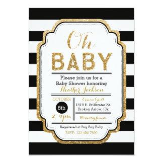 Svart och guld- baby showerinbjudan 12,7 x 17,8 cm inbjudningskort