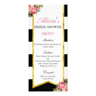 Svart och guld- blom- menykort reklamkort
