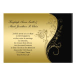 Svart och guld- bröllopinbjudan för vintage