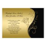 Svart och guld- bröllopinbjudan för vintage skräddarsydda inbjudan