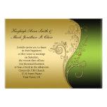 Svart och guld- bröllopinbjudan för vintagegrönt personliga tillkännagivande