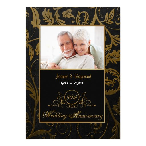 Svart och guld- bröllopsdag för damast 50th inbjudningskort