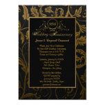 Svart och guld- bröllopsdag för damast 50th 12,7 x 17,8 cm inbjudningskort