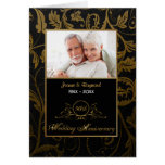 Svart och guld- bröllopsdag för damast 50th hälsningskort