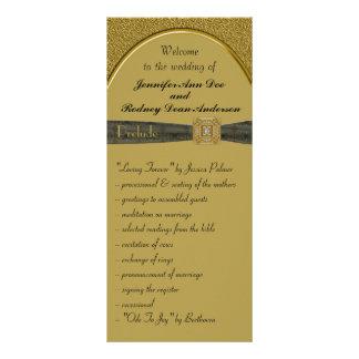 Svart och guld- bröllopsprogramkuggekort reklamkort