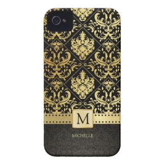 Svart och guld- damast för elegant med monogramen iPhone 4 Case-Mate cases