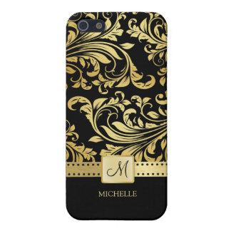 Svart och guld- damast för elegant med monogramen iPhone 5 skal