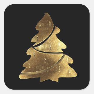 Svart och guld- elegant för god julträd fyrkantigt klistermärke