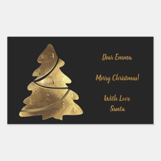 Svart och guld- elegant för god julträd rektangulärt klistermärke