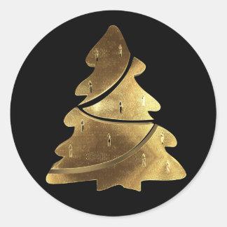 Svart och guld- elegant för god julträd runt klistermärke