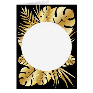 Svart och guld- elegant tropisk lövmall hälsningskort