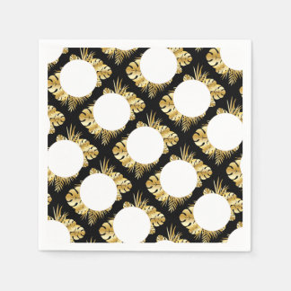 Svart och guld- elegant tropisk lövmall papper servett