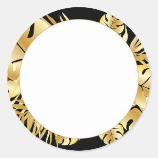 Svart och guld- elegant tropisk lövmall runt klistermärke