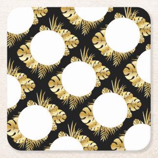 Svart och guld- elegant tropisk lövmall underlägg papper kvadrat