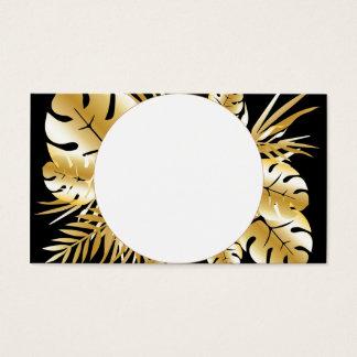 Svart och guld- elegant tropisk lövmall visitkort