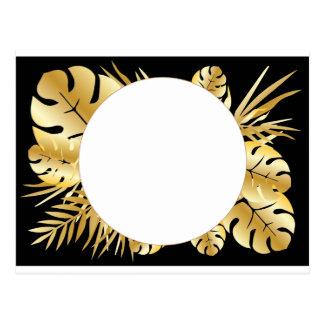 Svart och guld- elegant tropisk lövmall vykort