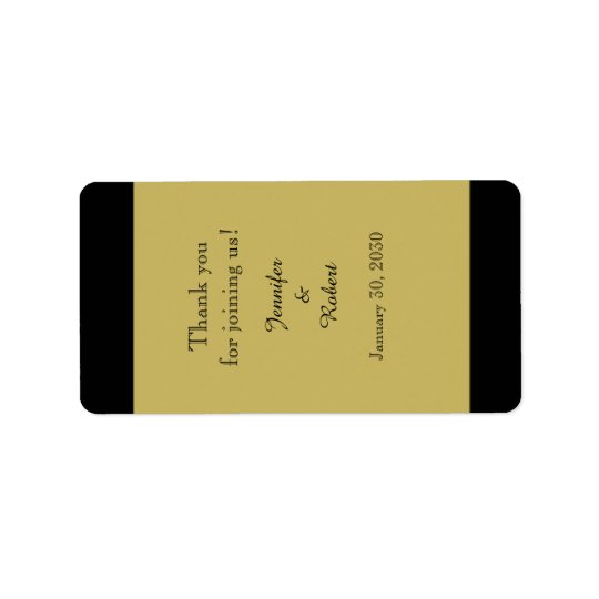 Svart och guld- etikett för bröllopkantbalsam adressetikett