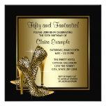 Svart och guld- högklackardam födelsedagsfest personliga inbjudan