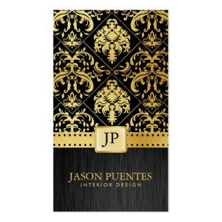 Svart och guld- inre formgivare för elegant set av standard visitkort