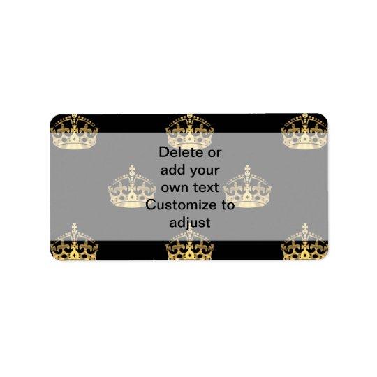 Svart och guld- kronamönster adressetikett