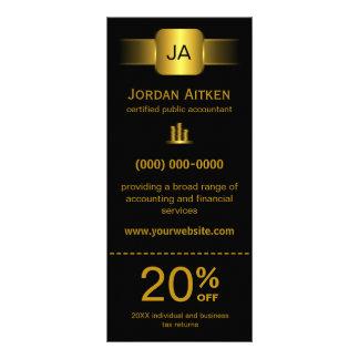 Svart och guld- kuggekort med rabattkupongen reklamkort 10 x 23 cm