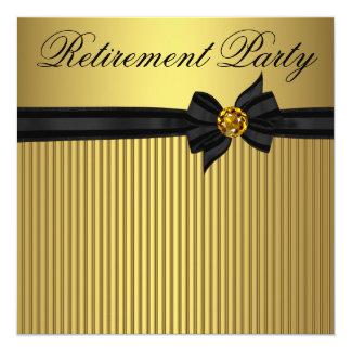 Svart och guld- kvinna pensionparty för elegant fyrkantigt 13,3 cm inbjudningskort