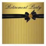 Svart och guld- kvinna pensionparty för elegant inbjudningar