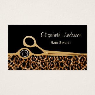 Svart och guld- Leopardhårsalong för elegant Visitkort