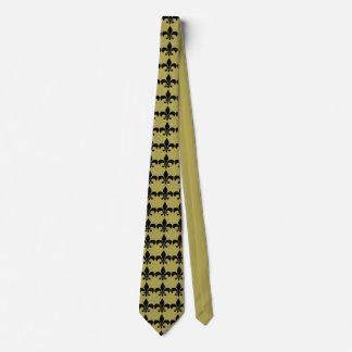 Svart och guld- Louisiana Fleur-De-Lis Tie Slips