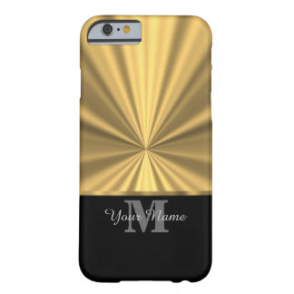 Svart och guld- metallisk monogram barely there iPhone 6 fodral