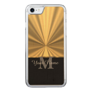 Svart och guld- metallisk monogram carved iPhone 7 skal