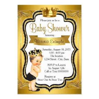 Svart och guld- Prince baby shower 12,7 X 17,8 Cm Inbjudningskort
