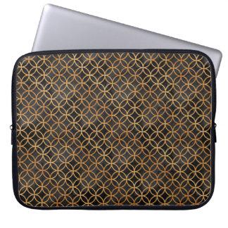 Svart och guld- Seamless mönster Laptop Sleeve