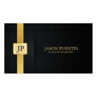 Svart och guld- yrkesmässig fotograf för elegant set av standard visitkort
