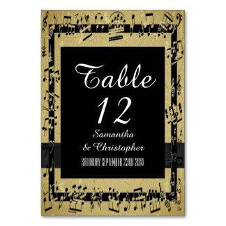 Svart- och guldpersonlig bordsnummer