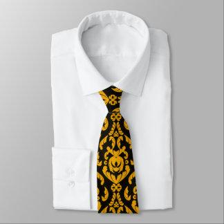 Svart och gult damastast mönster slips