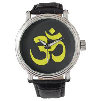 Svart och gult Om-symbol Armbandsur