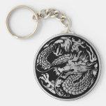 Svart och kinesisk drakenyckelring för silver