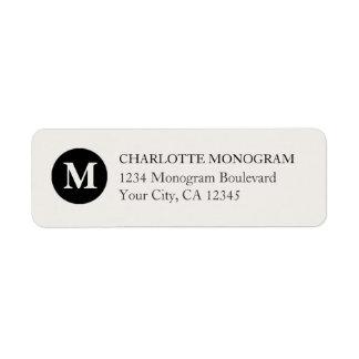 Svart och kräm- Monogram Returadress Etikett