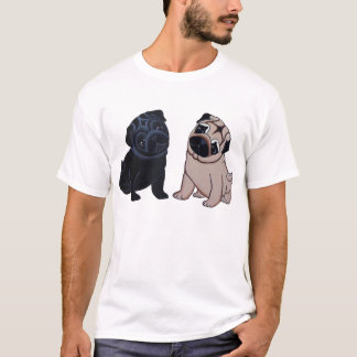 Svart och lisma mopsvalpT-tröja Tee